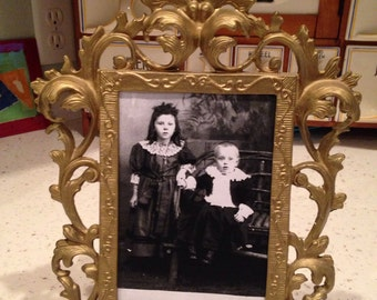 Antique Ornate Metal Picture Frame With Attached Stand