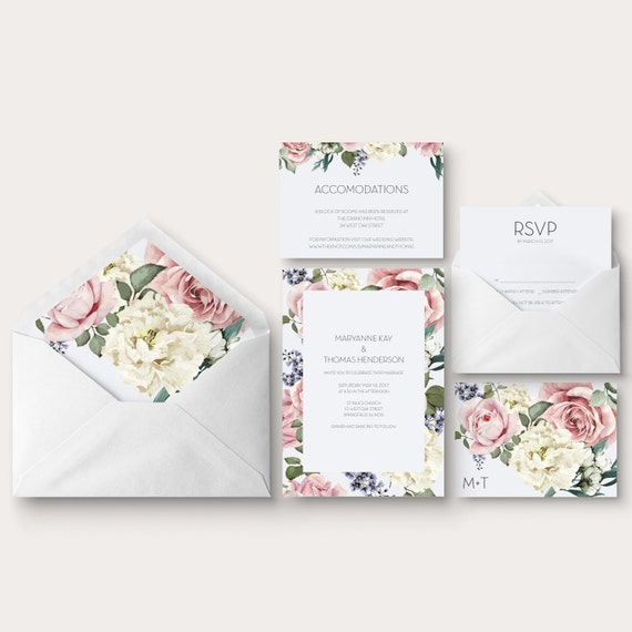Floral chic wedding invitation enclosure and response cards
