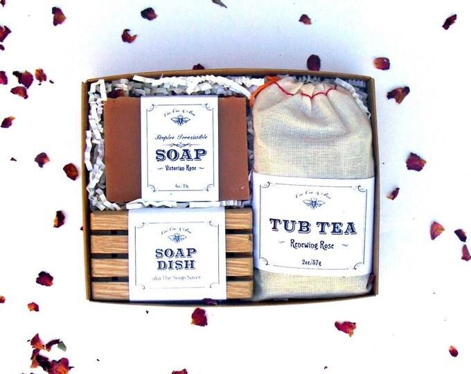 Rose Bath Set - Tub Tea + Handmade Soap Bar + Soap Dish - Gift for Mom