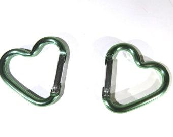 "5pc ""heart carabiner"" clip-ons green (BC775 -green)"