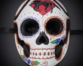 Day of the Dead Mask - Sugar Skull Skeleton Masquerade Halloween Mask, Dia de los Muertos Mask, Masquerade Mask