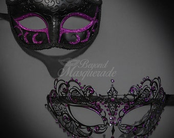 Black Purple Couples Masquerade Mask, His & Hers Masquerade Mask, Filigree Metal Masquerade Mask, Mardi Gras Masks