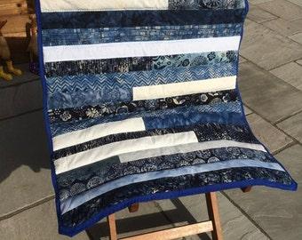 Blue Batik Lap Quilt - Small Size - Blue Mix