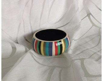 Vintage Chunky Papier Mache Bangle, Multicoloured Stripes, Hippie, Boho