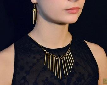Brass jewelry set (necklace & earrings)
