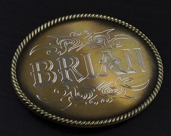 Engraved Belt Buckle, Personalized Brushed Bronze Rope Design Belt Buckle, Men's Belt Accessories, Custom Belt Buckle Engraved for Free