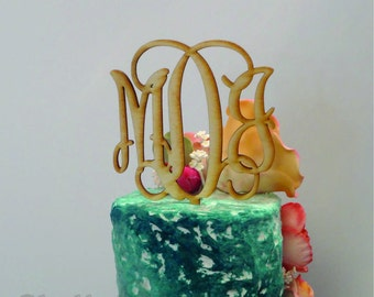 8 inch Acrylic Vine connected monogram CAKE TOPPER - wedding and/or birthday