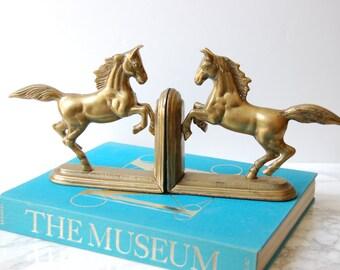 Brass Horse Bookends - Vintage Brass Horse Bookends - Equestrian Decor - Mid Century Decor