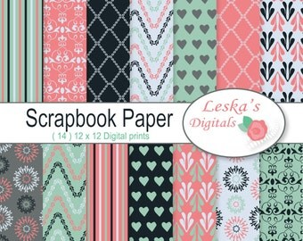Digital Paper Pack - Scrapbook paper - Digital backgrounds - Patterned paper for digital scrapbooking - digital paper - patterns