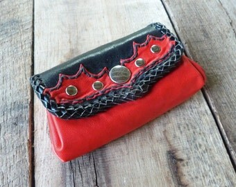 Cute mini coin purse bag wallet red and black leather, 4 pockets, bills coins cards, snaps Western Country style, HANDMADE / HANDCRAFTED