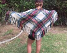 Glentana,Plaid shawl,Mohair,fringes wrap,red,tan,blue,yellow,shawl, Free US shipping