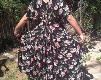 Long, black dress, pink ,yellow, roses,rayon, dress,medium
