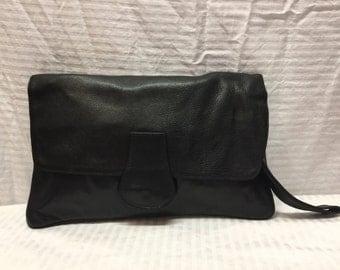 Black Leather Clutch, Wristlet, Black, Leather, Bag