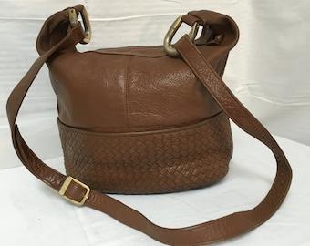 Ganson, brown leather purse,bags, purses brown, woven, leather, large, shoulder bag, Panache by Ganson