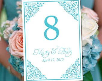 """Wedding Table Number Template - Turquoise Table Number - Wedding """"Madison"""" Printable Table Card - Instant Download Table Number Card"""
