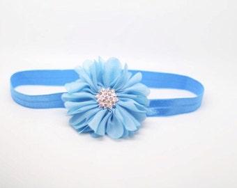 Baby blue Headband, Blue Headband, Blue Flower Headband, blue newborn headband, blue flower girl headband, blue birthday headband,blue clip