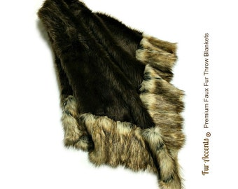 Luxurious Faux Fur Throw Blanket  - Bedspread - Area Rug - Brown Ribbed Fox Backed with Minky Cuddle Fur - Fur Accents Original Designs USA
