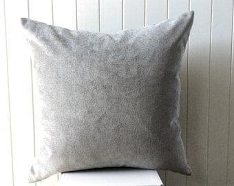 "Silver Grey Velvet  46cm x 46cm - 18""x 18"" Square / Cushion / Pillow Cover"