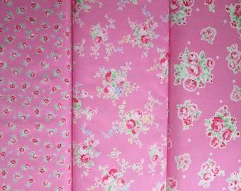 Lecien Flower Sugar Spring 2015, Pink Fat Quarter Bundle of 3, Japanese Fabric
