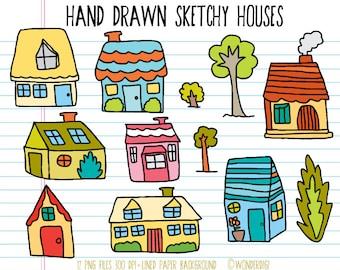 Hand Drawn Clipart Doodles Clip art - Scrapbooking Clipart - Houses Clipart - House Illustration