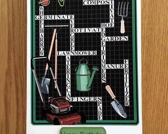 Gardening Birthday Card * Crossword Birthday Card * Handmade Card * Crossword Card * Gardening Card * Birthday Card * Green Birthday Card *