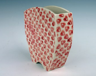 Small white with red hearts ceramic vase, handmade, porcelain pottery, made from slabs
