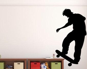 "Skateboarder Wall Decal - 27"" x 30"" Skateboarder Silhouette Vinyl Decal - Skateboarder 3"