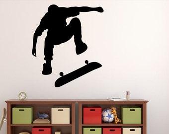 "Skateboarder Wall Decal - 31"" x 27"" Skateboarder Silhouette Vinyl Decal - Skateboarder 7"