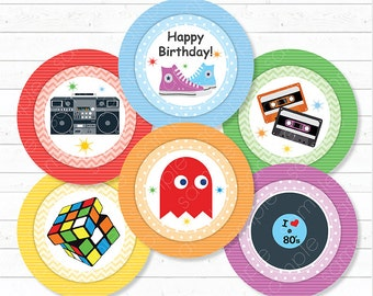 80's Cupcake Toppers , 80s Birthday, 80's party, Eighties Cupcake Toppers, Eighties Stickers, printable, INSTANT DOWNLOAD