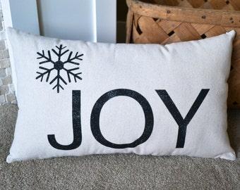 Holiday Joy Pillow - Glitter Pillow - Winter Christmas Decor - Christmas Pillow - Glitter Holiday - Stenciled Pillow - Handmade 12x20 Pillow