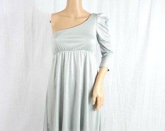 SALE SALE SALE Grey Metallic one shoulder dress / Silver dress / Disco Club dress / Mini dress / Vintage 80s 90s dress / Dress Xs S Small
