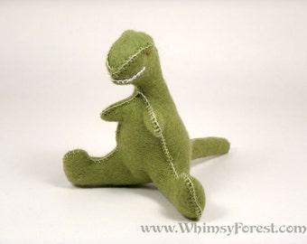 Miniature Green Felt Toy Tyranosaurus Rex (dinosaur)