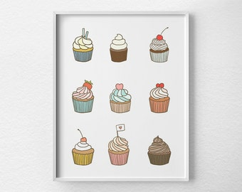 Cupcake Print, Cupcake Poster, Cupcake Art, Bakery Decor, Kitchen Decor, Kitchen Art, Kitchen Poster, Bakery Art, Food Art, 0459