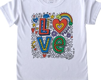 T shirt to Colour in Love Design Doodle Colouring in Art Fabric Pens Tee Shirts Fun Activity for Girls Kids Colour in