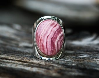 Rhodochrosite Ring - Pink Gemstone Ring Size 6 - Rhodochrosite and Sterling Silver Ring - Rhodochrosite Jewelry - Pink Rhodochrosite Ring