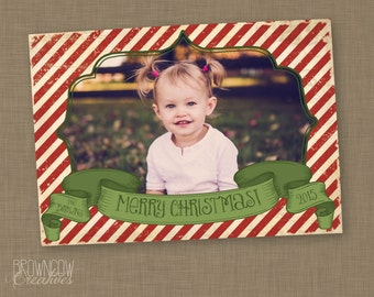 PRINTABLE Shabby Chic Christmas Photo Card