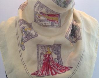 Scarf silk, vintage, women