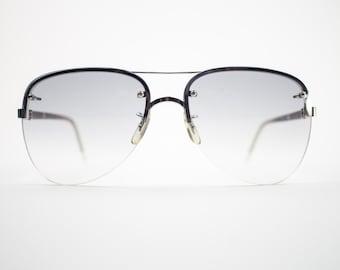 70s Vintage Sunglasses   1970s Silver Aviator Sunglasses   NOS Sunglasses with Grey Lenses   Deadstock Vintage Eyeglasses - October I White
