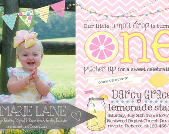 Pink Lemonade First Birthday Invitation