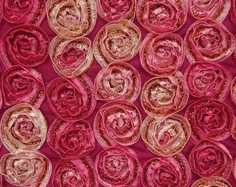 Rosette Bunches on Satin - Special Occasion Fabric