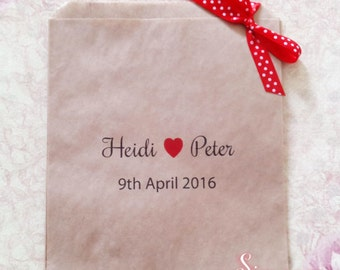 Personalised Wedding Kraft Brown Candy Buffet Lolly Bags x 50