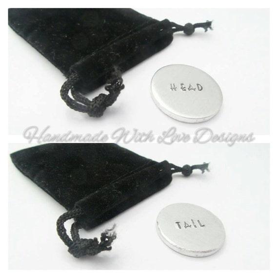 Head Tail Rude Adult token, Handstamped, valentines, Honeymoon, Anniversary gift