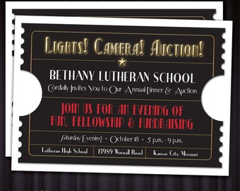 Lights! Camera! Auction! Movie Ticket PRINTABLE Fundraising Auction Invitation | Cinema and Theater Theme