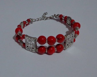 Handmade Red Tribal Bangle Bracelet, Red Faux Turquoise Bead Bracelet, Tibetan Bangle