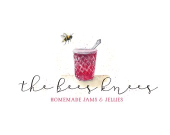 CLEARANCE - Watercolor Logo - OOAK Business Logo - Watercolor, Children,  Sweets, Jam, Jelly, Homemade desserts, bees, honey, photography