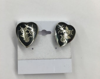 Siam Sterlng Silver Heart  Shaped Dancing Godess Earrings