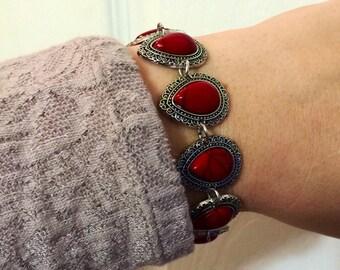 Bohemian tibet gypsy oval red silver pedant bracelet