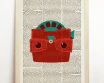 View Master Gaf Model G Print Poster Retro Vintage Red Geekery Nerdy Gift Men Room Present Wall Decor 1960 House Mid Century Book Dictionary
