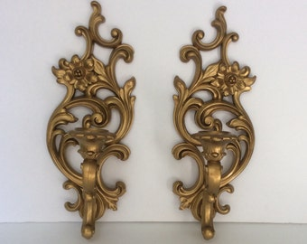 Vintage 1960s HOLLYWOOD REGENCY Syroco Candle Sconces PAIR