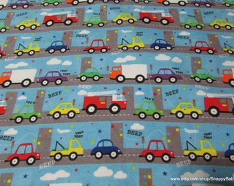 Flannel Fabric - Traffic - 1 Yard - 100 Percent Cotton Flannel